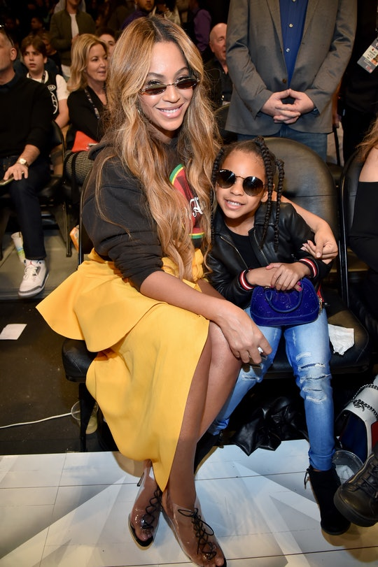 LOS ANGELES, CA - FEBRUARY 18:  Beyonce (L) and Blue Ivy Carter attend the 67th NBA All-Star Game: T...