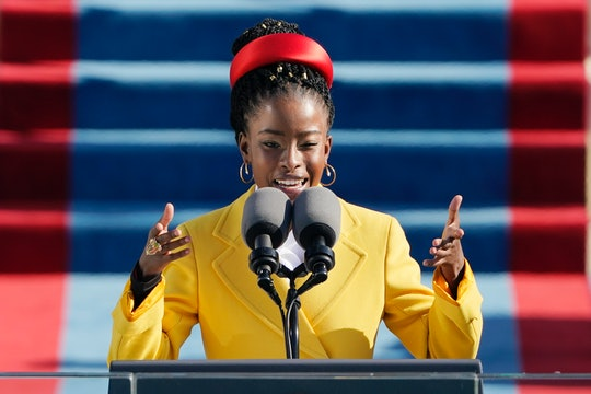 American poet Amanda Gorman reads a poem during the 59th Presidential Inauguration at the US Capitol...