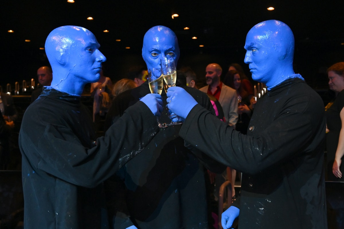 LAS VEGAS, NEVADA - JUNE 24: Blue Man Group celebrate their first performance in Full Color Again at...