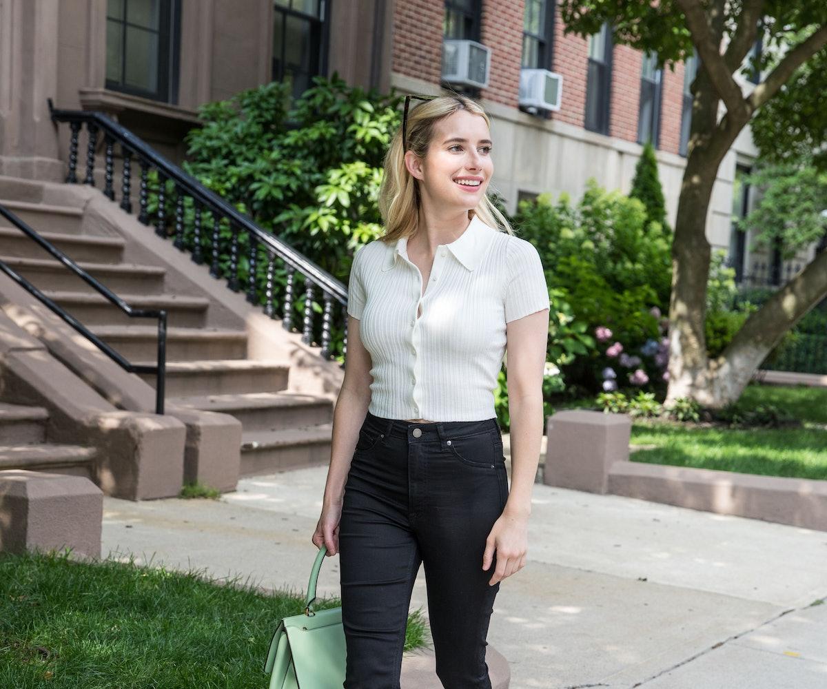 BOSTON, MA - JULY 17:  Emma Roberts is seen on Beacon Street on July 17, 2021 in Boston, United Stat...