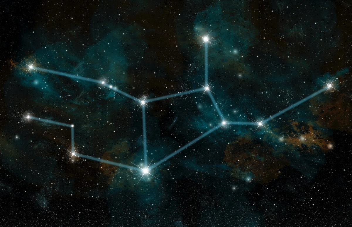 An artists depiction of the constellation Virgo the Virgin. The constellation includes the star Spic...