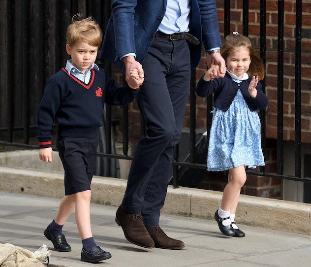 Princess Charlotte visits baby brother Prince Louis.