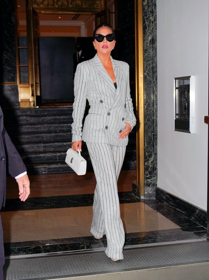 Men's suits for women: Lady Gaga in pinstripe suit