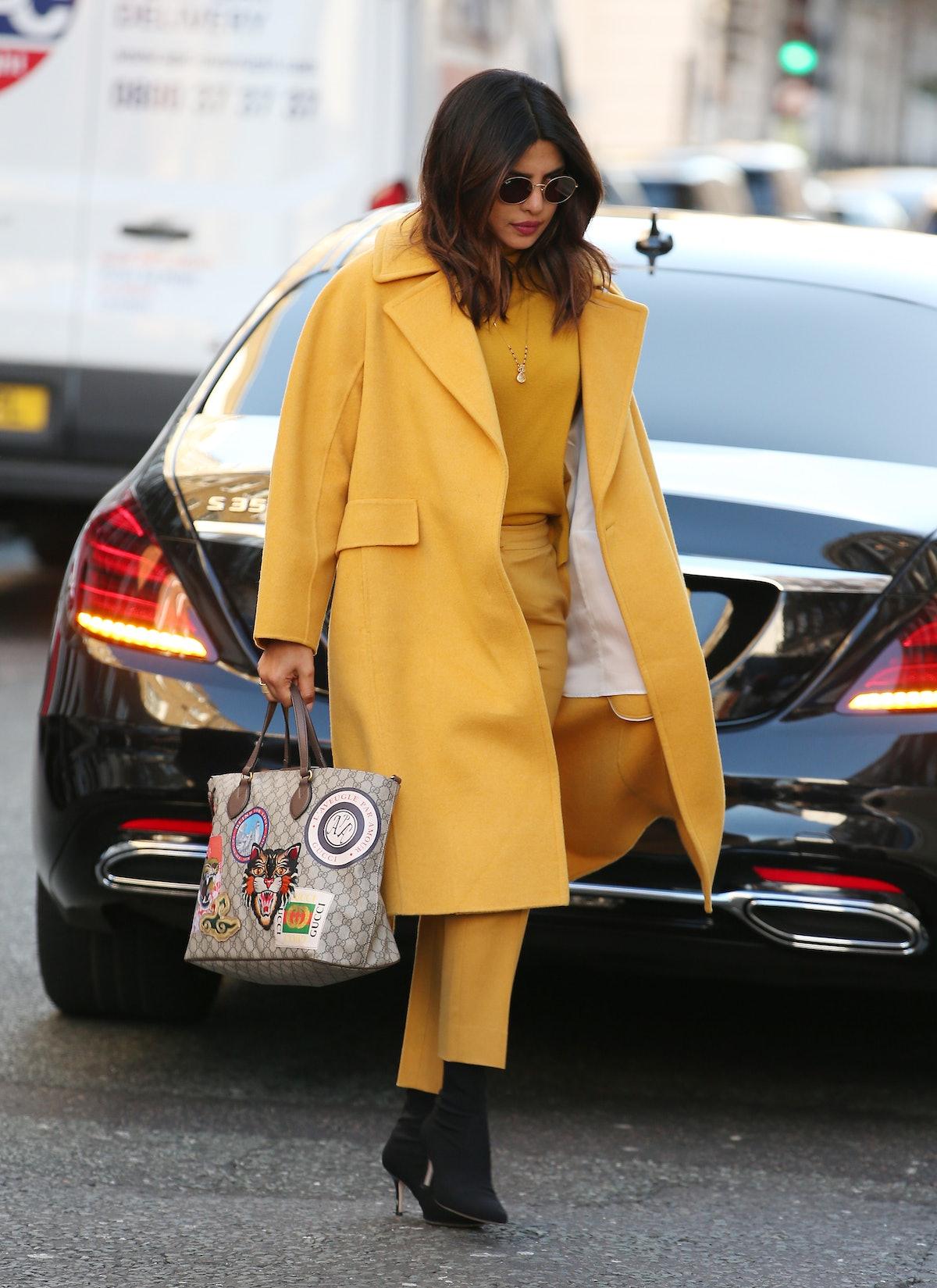 LONDON, ENGLAND - FEBRUARY 15:  Priyanka Chopra Jonas seen out and about on February 15, 2019 in Lon...