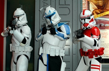 NEW YORK - AUGUST 10:  Actors portraying Clone Troopers attend the New York International Children's...