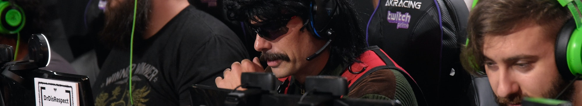 LOS ANGELES, CA - JULY 13:  Gamer Dr DisRespect gets interviewed at the Twitch Prime and PUBG Battle...