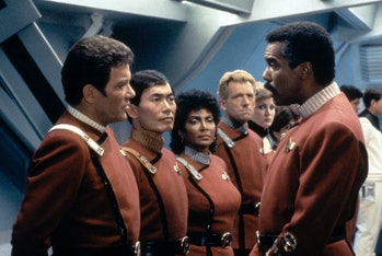 Canadian actor William Shatner, AMerican George Takei, Nichelle Nichols and Robert Hooks on the set ...