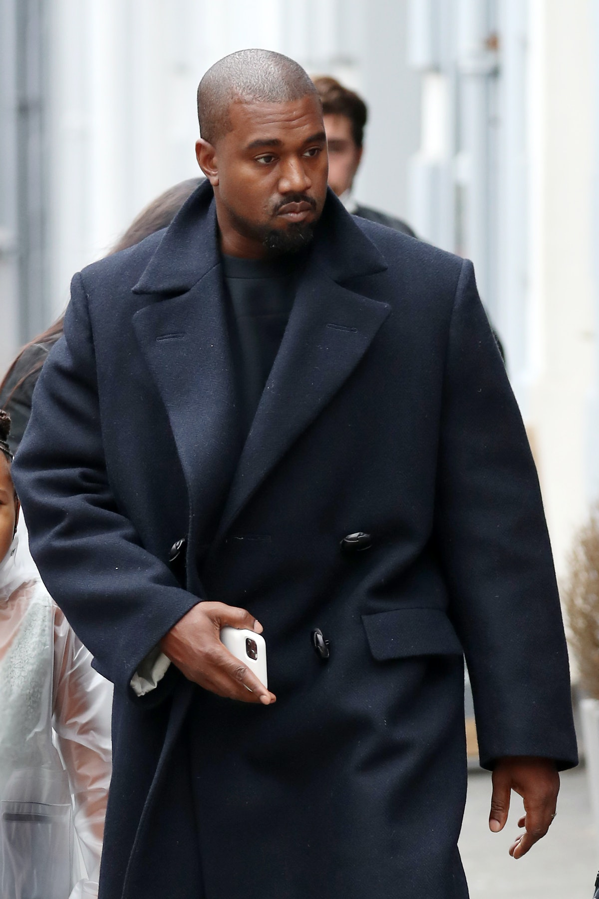 Kanye West seen leaving Michiko Sushino restaurant with his daughter North West.
