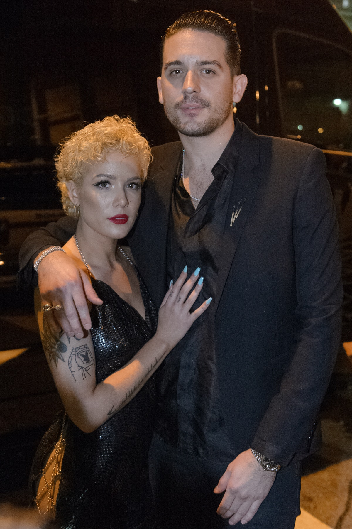 MIAMI, FL - DECEMBER 31:  Halsey and G-Easy arrive at G-Easy + Halsey Ring in the New Year 2018at E1...