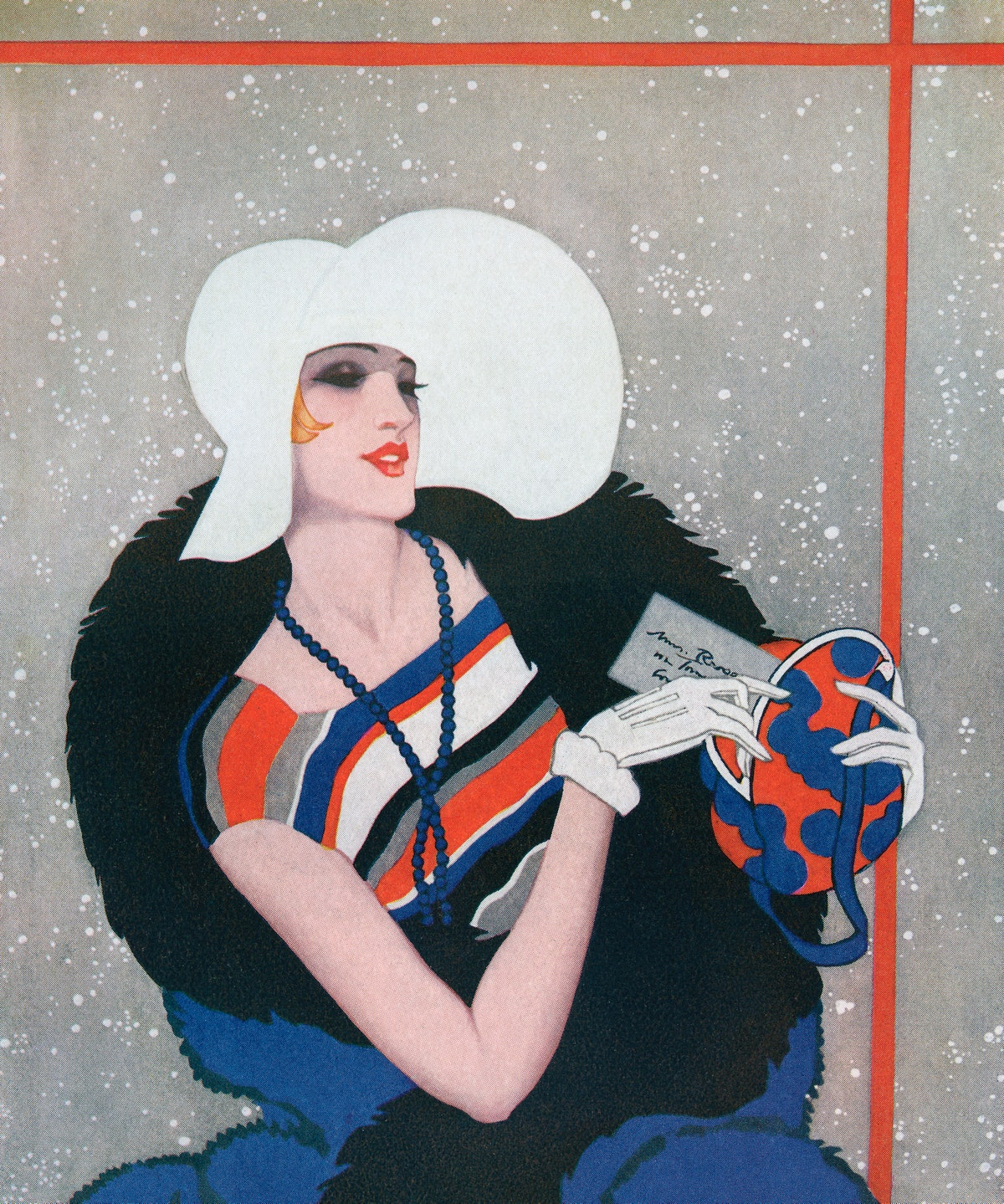 Vintage illustration of a fashionable flapper on her way to a party on a snowy evening; screen print...