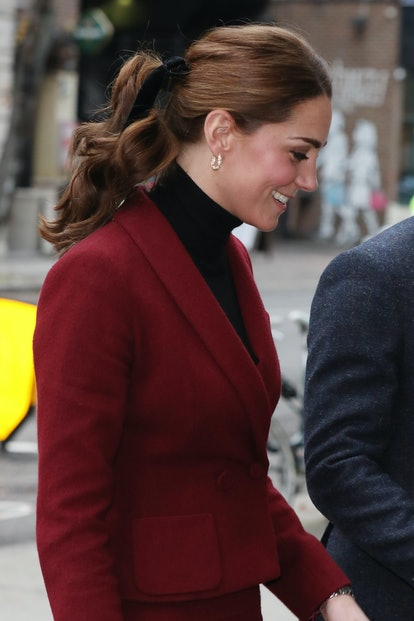 Kate Middleton's ponytail is one of her best hairstyles. Catherine, Duchess of Cambridge visits a UC...