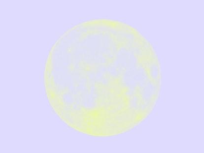 The September 2021 full moon in Pisces over dark black sky seen with a telescope