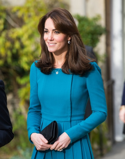 Kate Middleton's curtain bangs are one of her best hairstyles. Here, Catherine, Duchess of Cambridge...
