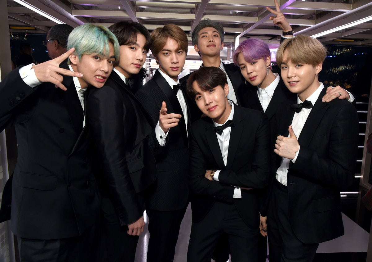 LOS ANGELES, CA - FEBRUARY 10:  BTS backstage during the 61st Annual GRAMMY Awards at Staples Center...