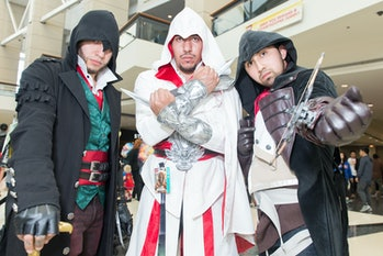 """CHICAGO, IL - APRIL 23:  Cosplayers dressed as characters from """"Assassin's Creed"""" attend C2E2 Chicag..."""