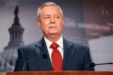 WASHINGTON, DC - APRIL 14: Sen. Lindsey Graham (R-SC) speaks during a news conference in response to...