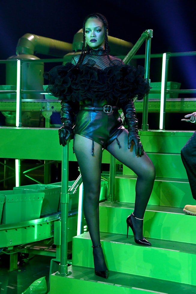 LOS ANGELES, CALIFORNIA - OCTOBER 1: In this image released on October 1, Rihanna is seen onstage du...