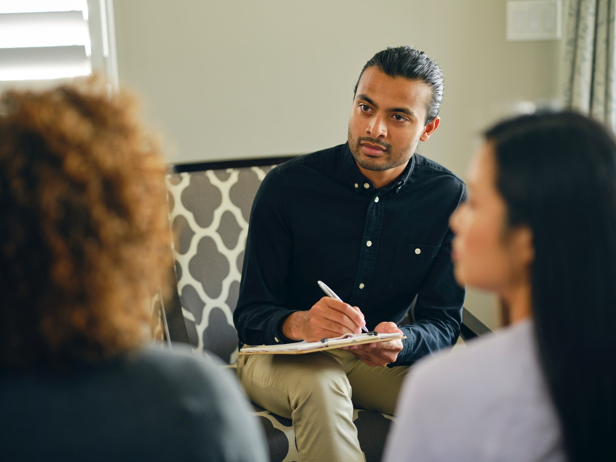 A young couple in therapy understands the benefits of working with a professional.