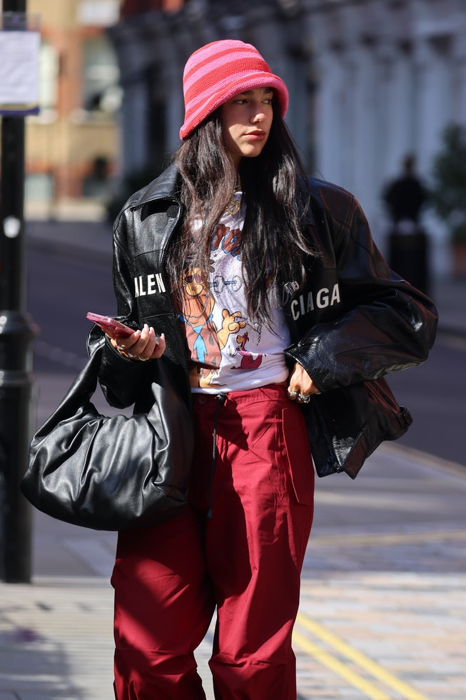 LONDON, ENGLAND - AUGUST 25:  Dua Lipa seen arriving back at a hotel on August 25, 2021 in London, E...