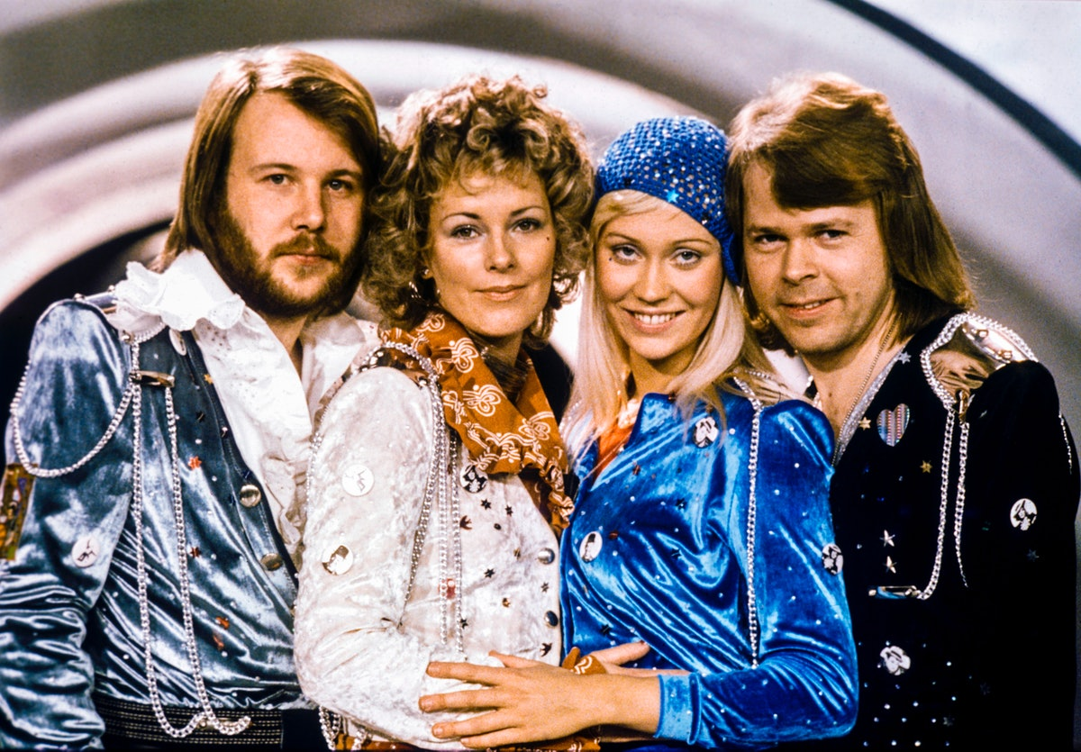 Picture taken in 1974 in Stockholm shows the Swedish pop group Abba with its members (L-R) Benny And...