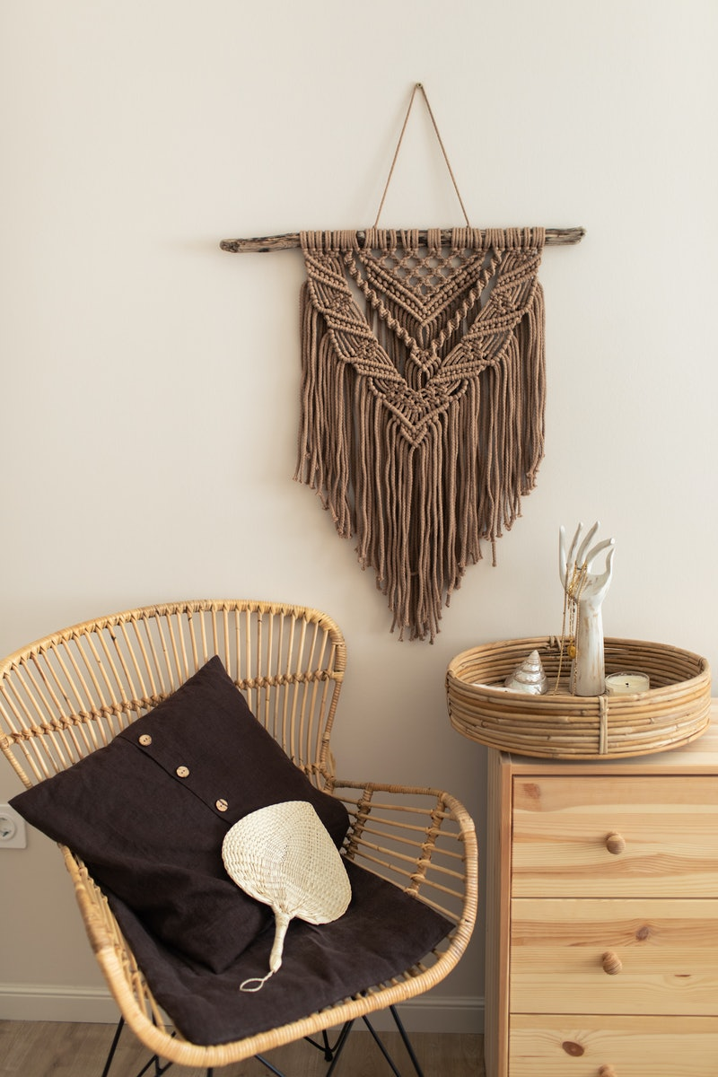 Stylish trendy eco accessory for home. Handmade natural cotton macrame derocation, bamboo arm chair ...