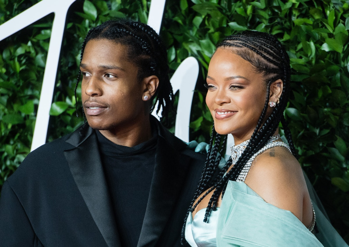 LONDON, ENGLAND - DECEMBER 02:  Rihanna and ASAP Rocky arrive at The Fashion Awards 2019 held at Roy...