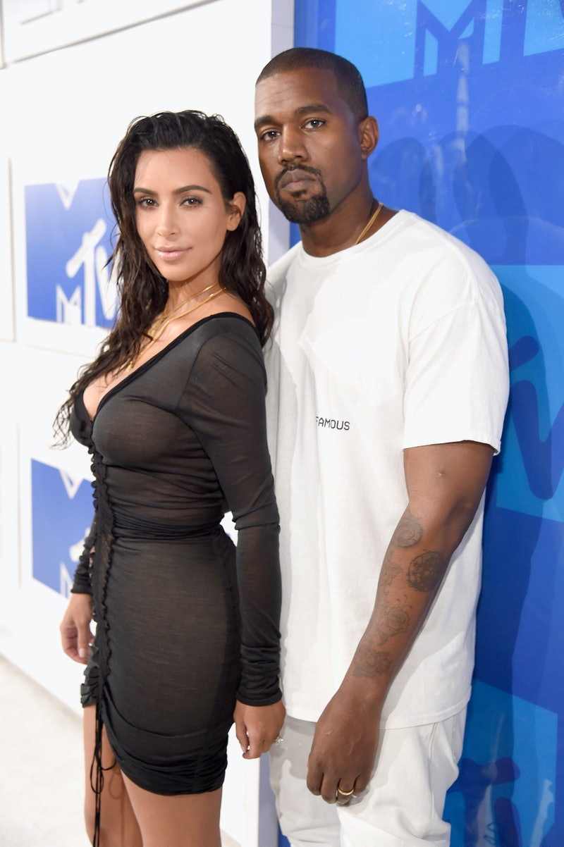 NEW YORK, NY - AUGUST 28:  Kim Kardashian West (L) and Kanye West attend the 2016 MTV Video Music Aw...