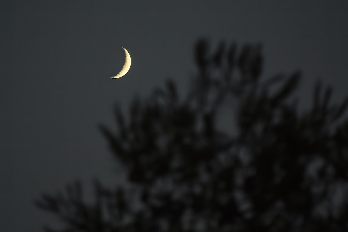 SITGES, BARCELONA, SPAIN - 2021/08/13: The Crescent moon rises over Sitges. (Photo by Ramon Costa/SO...