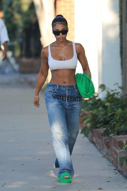 LOS ANGELES, CA - AUGUST 25: Lori Harvey is seen in Los Angeles, California on August 25, 2021.  (Pho ...