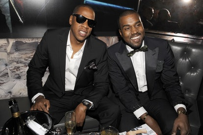 NEW YORK CITY, NY - SEPTEMBER 15: Jay-Z and Kanye West attend GQ, Rocawear, and Hennessy Celebrate N...