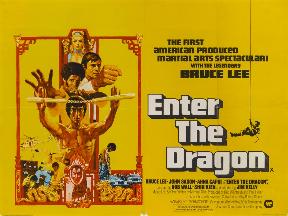 Actors Bruce Lee, Jim Kelly, John Saxon and Ahna Capri appear on a poster for the movie 'Enter the D...
