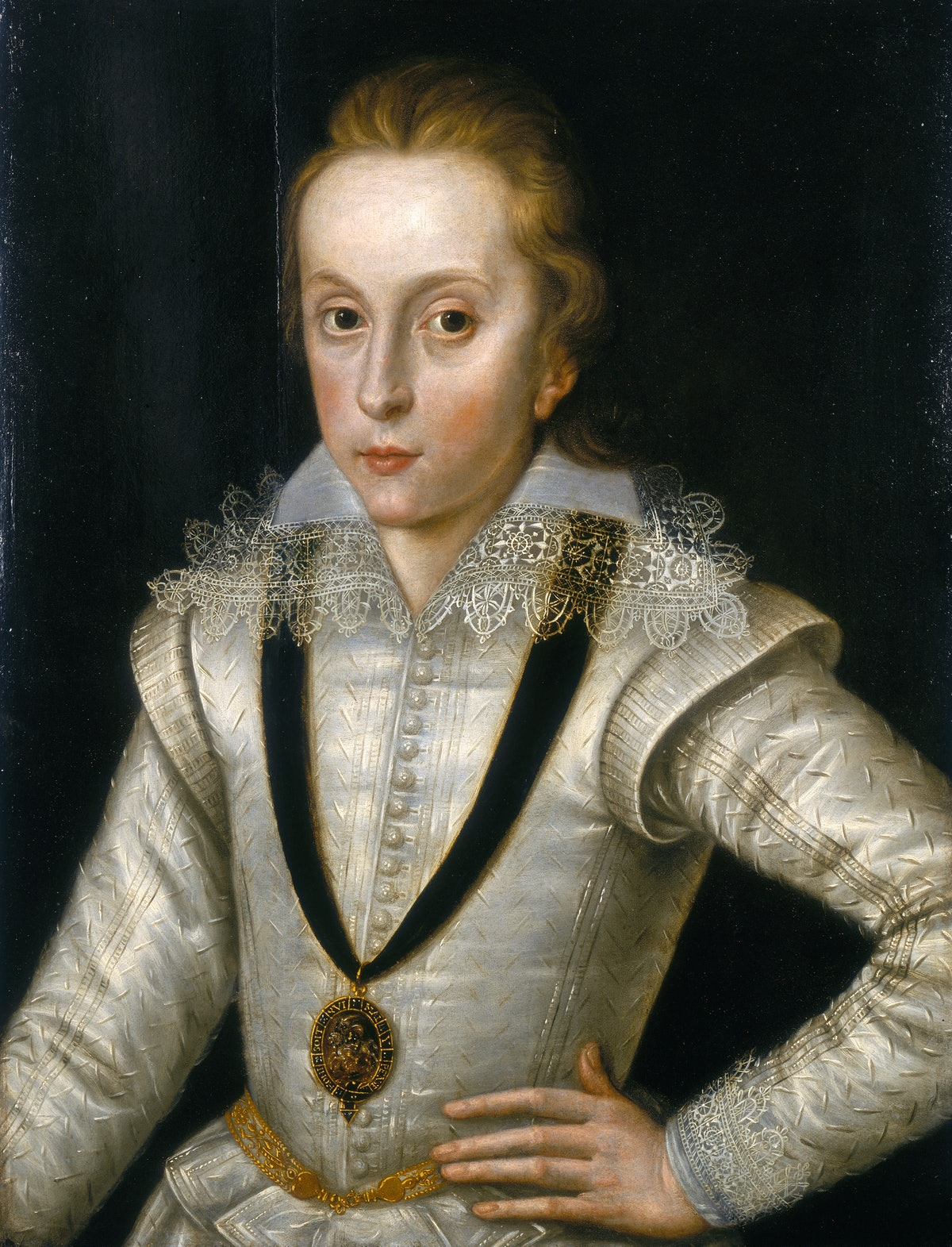 'Portrait of Henry Frederick, Prince of Wales (1594-1612)', c1604. The prince wears a lace collar an...