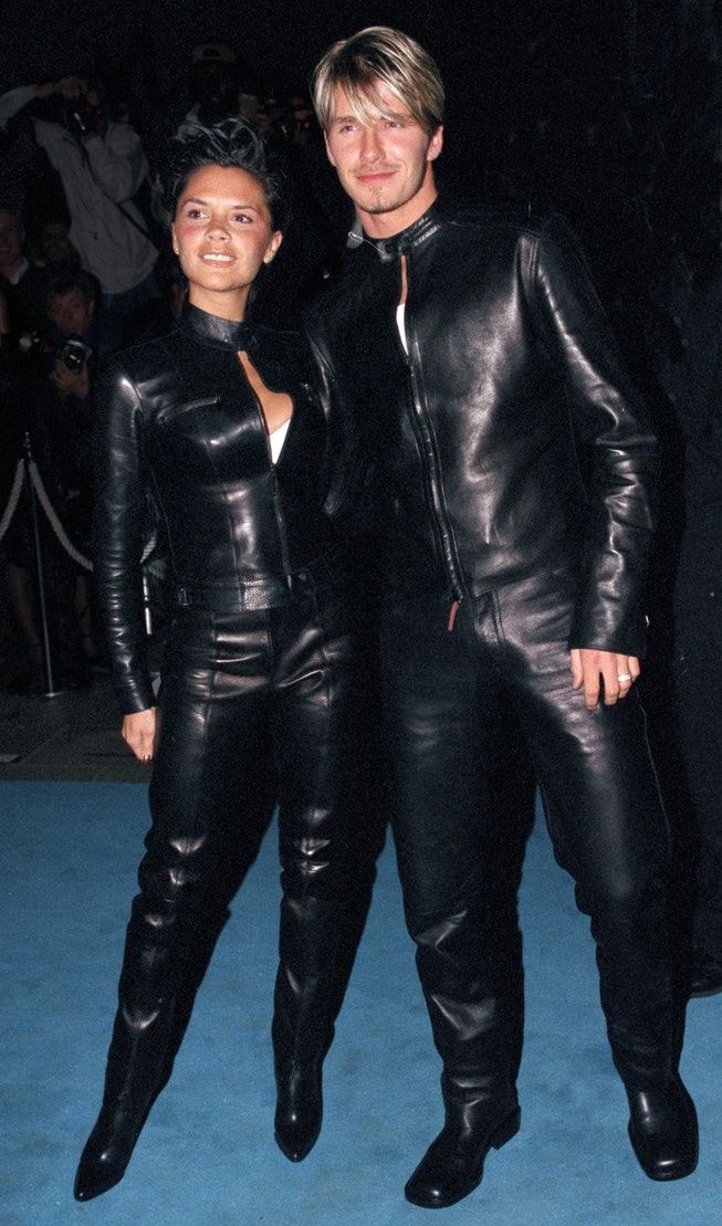 David & Victoria Beckham Attend The 'Versace Club' Gala Party In London. (Photo by Justin Goff\UK Pr...