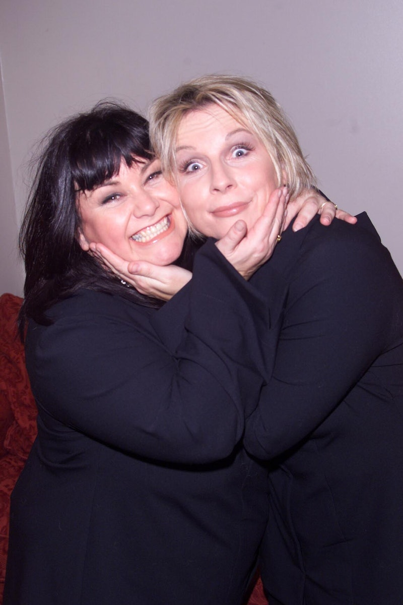 LONDON - NOVEMBER 8: Comediennes Dawn French (L) and Jennifer Saunders (R) backstage at the Hammersm...