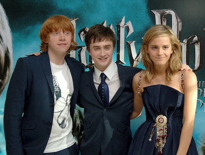 Stars of the film (L-R) Rupert Grint, Daniel Radcliffe and Emma Watson arrive for the UK Premiere of...