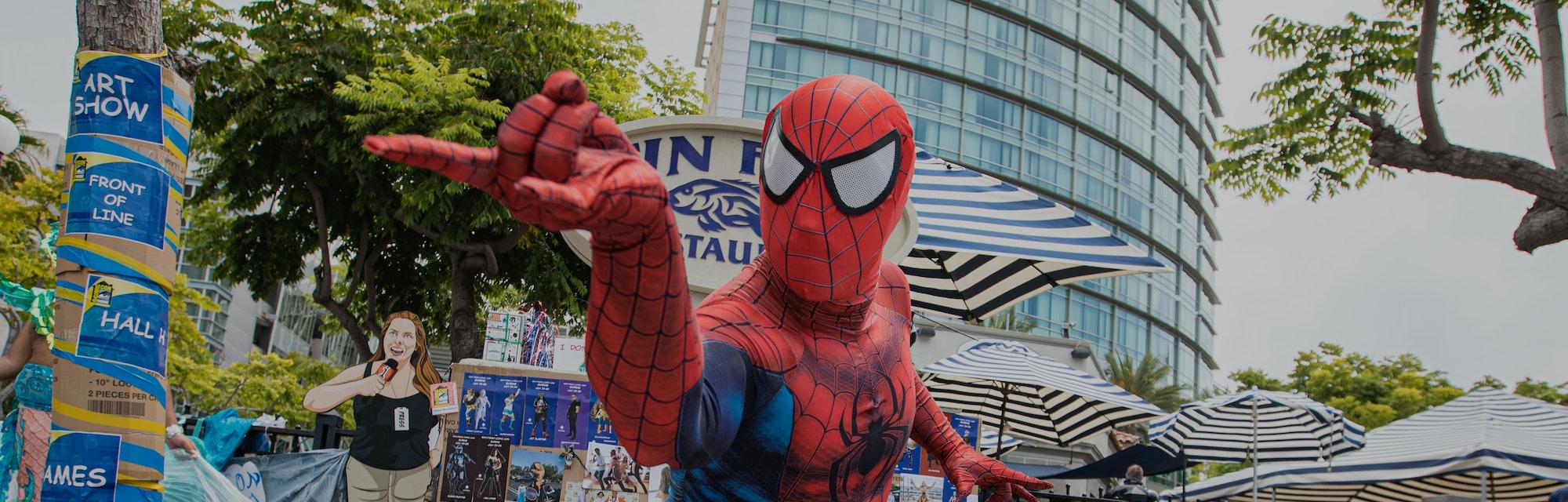 SAN DIEGO, CALIFORNIA - JULY 24: Cosplayer Derek Shackelton as Spiderman poses at the San Diego Caus...