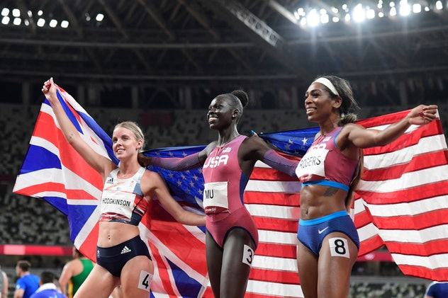 Winner  USA's Athing Mu (C), second-placed  Britain's Keely Hodgkinson (L) and third-placed USA's Ra...