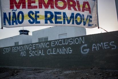 RIO DE JANEIRO, BRAZIL - AUGUST 13: Graffiti is seen written on the walls of the the newly construct...