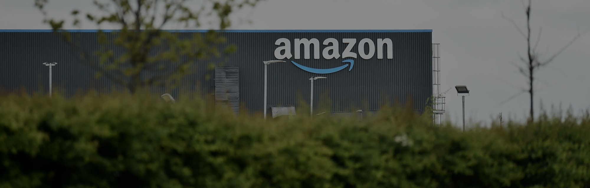 LEEDS, ENGLAND - MAY 27: A general view outside an Amazon UK Services Ltd Warehouse at Leeds Distrib...