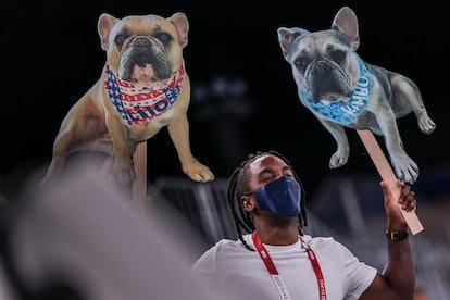 Tokyo, Japan, Tuesday, August 3, 2021 - Cardboard cutouts of Simone Biles dogs, Lilo, left, and Ramb...