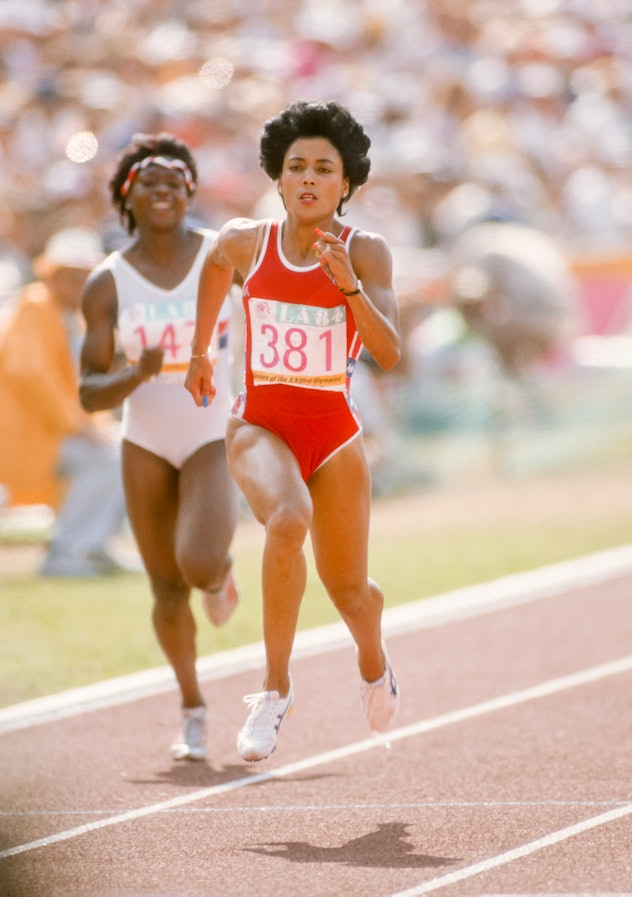 LOS ANGELES -  AUGUST 8:  Florence Griffith Joyner #381 of the United States competes in a prelimina...