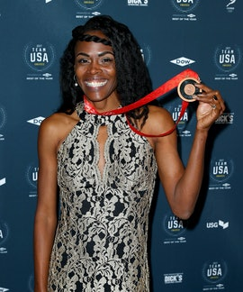 WESTWOOD, CA - NOVEMBER 29:  Chaunte Lowe attends the 2017 Team USA Awards on November 29, 2017 in W...
