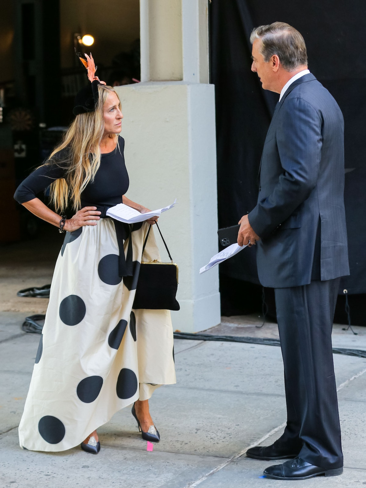 Sarah Jessica Parker and Chris Noth are seen at the film set of the 'And Just Like That' in Chelsea,...