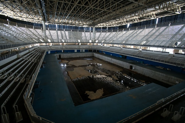 RIO DE JANEIRO, BRAZIL - MAY 20: A view from the mostly abandoned Olympic Aquatics stadium at the Ol...