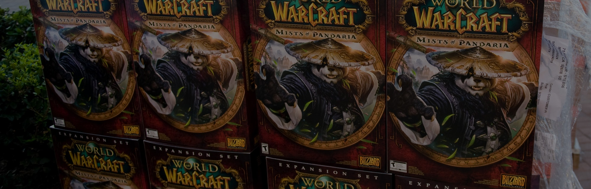 """IRVINE, CA - SEPTEMBER 24: Boxes of  """"World of Warcraft: Mists of Pandaria"""" are stacked for the rele..."""