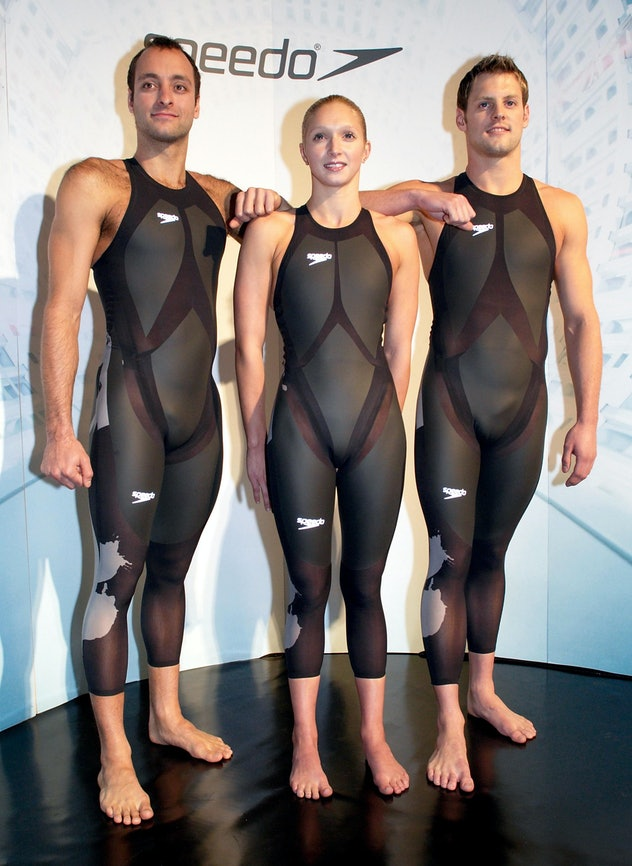 Swimmers (l to r) Great Britain's James Goddard Caitlin McClatchley and Liam Tancock model the new S...