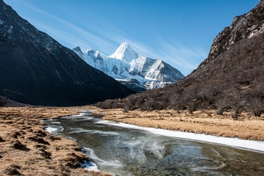 Tall snow-capped mountains in Tibet
