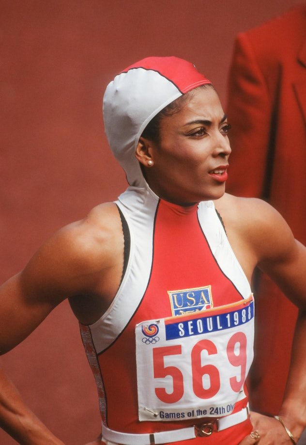 SEOUL, SOUTH KOREA -  SEPTEMBER 24:  Florence Griffith Joyner #569 of the USA competes in the first ...
