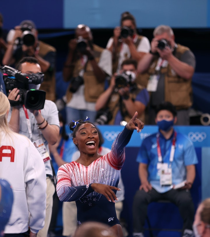 TOKYO, JAPAN - AUGUST 03: Simone Biles of Team United States reacts during the Women's Balance Beam ...