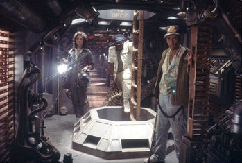 American actors Sigourney Weaver, Yaphet Kotto and Harry Dean Stanton on the set of Alien, directed ...